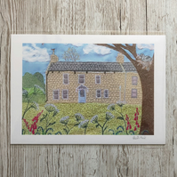 Country Cottage giclee print A4