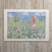 Dandelion clocks and girl in meadow giclee print A4 - dandelion seed head art