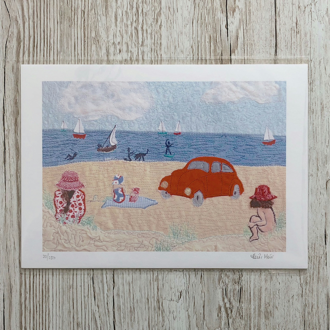 Beetle beach seaside A4 giclee print - limited edition sand sea print beetle car