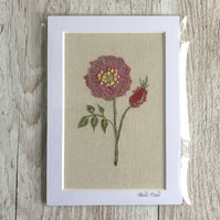 Pink briar rose textile artwork - unframed embroidery flower floral rose art
