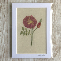 Pink dog rose textile artwork - unframed embroidery flower floral rose art