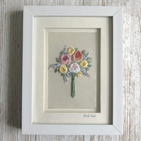 Embroidered bouquet of roses and flowers - floral embroidery textile art