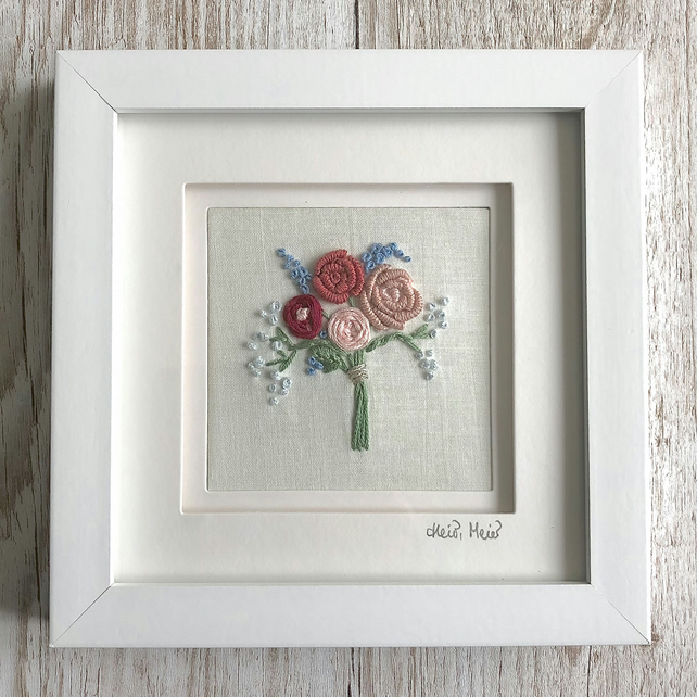 Embroidered bouquet pink red blue flowers - floral embroidery rose textile art
