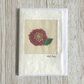 Silk rose birthday card - free motion pink silk embroidered rose on calico