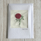 Greetings card - textile floral flower red rose - Birthday Valentine Anniversary
