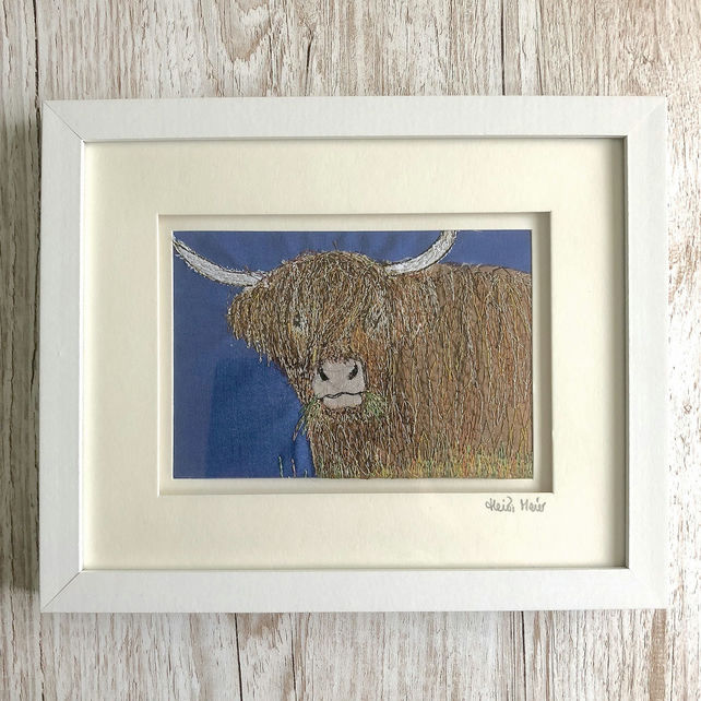Highland Cow - textile art hand crafted artwork thread painting