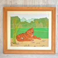 Tiger textile artwork picture - resting tiger