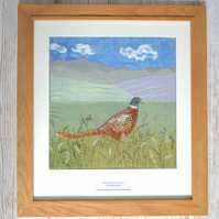 Pheasant in the Grass artwork - textile wall art British wildlife moor heath