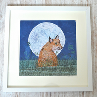 Fox and Moon textile free motion embroidery embroidered fabric animal picture
