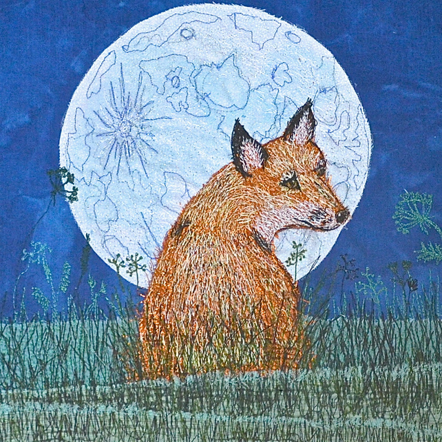 Fox and Moon textile art