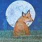 Fox and Moon textile art - on trend