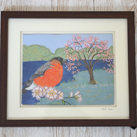 Bullfinch and cherry blossom textile art - British bird flower floral art
