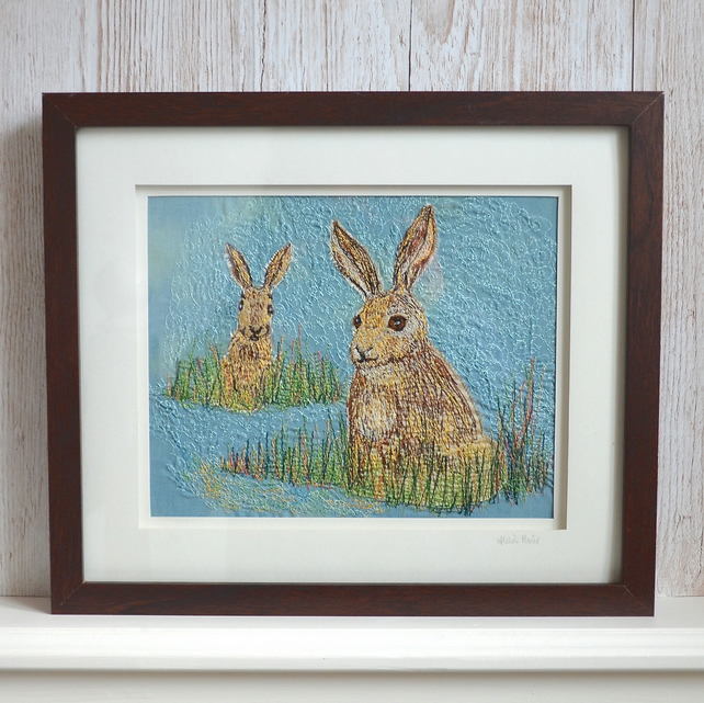 Two hares among the grasses - textile artwork