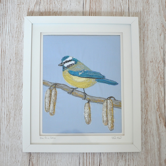 Bluetit on catkin art - British bird textile Spring picture - wall or shelf
