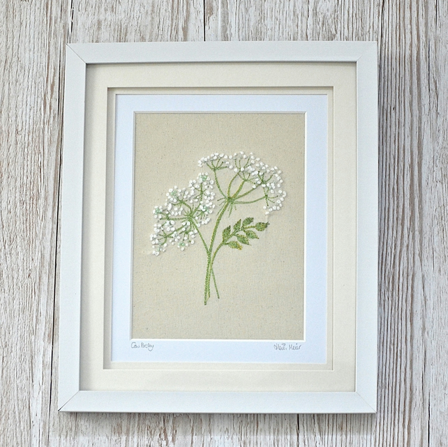 Cow parsley textile art - hand embroidered & free motion embroidery flower