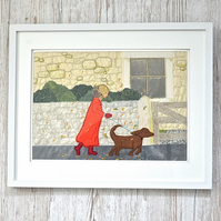A Blustery Walk autumn textile applique artwork ribbon embroidery & Toby the dog