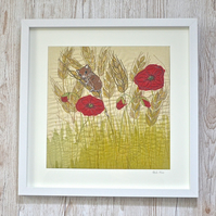 Harvest mouse with Poppies in cornfield textile artwork - embroidered fabric art