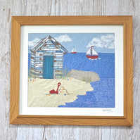Beach Huts picture - textile artwork