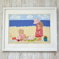 Seaside beach textile artwork - children on beach