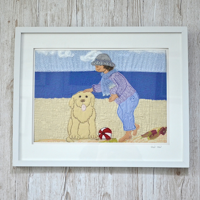 Beach labrador dog and child textile applique free motion artwork