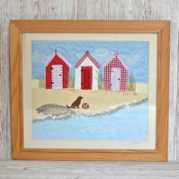 Beach Huts art - textile art of red beach hut picture with dog, sand, sea