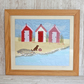 Beach Huts trio textile art - red beach hut picture with dog, sand, sea