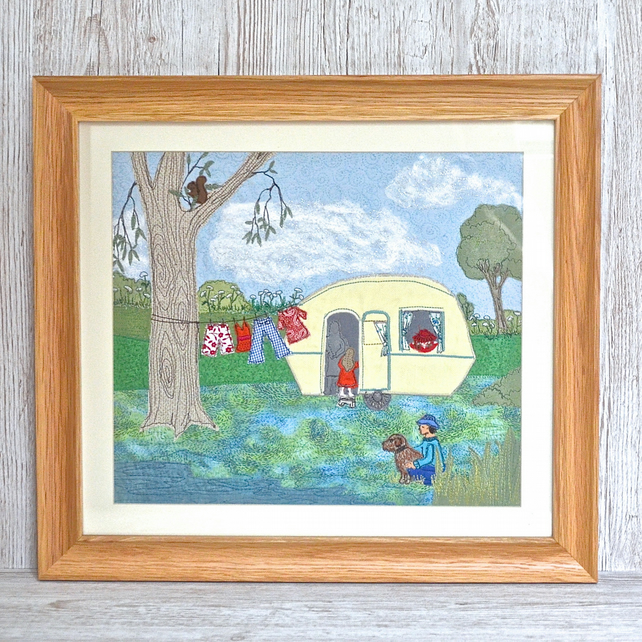 The Caravan - vintage caravan textile art nostalic and fun