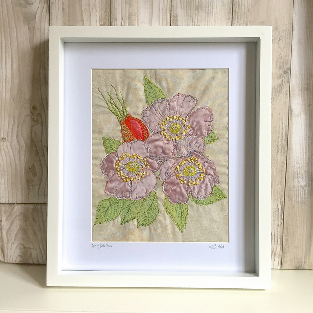 Briar roses trio - wild rose floral art - hand and free motion embroidery