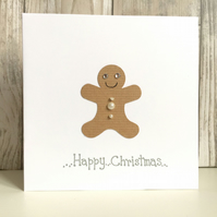 Christmas card - gingerbread man jewel handmade contemporary humour fun