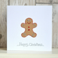 Handmade fun glittery Christmas card - gingerbread man hand crafted cute