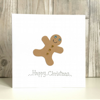 Christmas card - gingerbread man handmade contemporary humour fun disco dancer