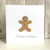 Christmas card - fun character gingerbread man hand crafted