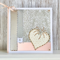 Birthday card - large handmade birthday card jewel sparkly glitter heart