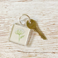 Keyring - Cow Parsley embroidered textle flower keyring floral keyring