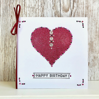 Birthday card - handmade birthday card - heart, glitter. pink - male or female
