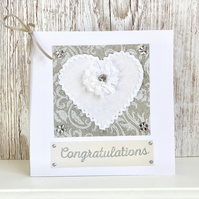 Wedding card - wedding congratulations card textile handmade anniversary