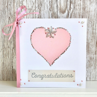 Wedding card - wedding congratulations card textile handmade anniversary pink