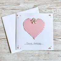 Birthday card - handmade birthday card - traditional romantic
