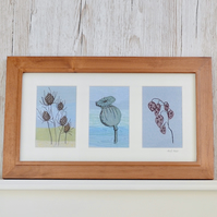 Flower Floral seeded embroidered fabric textile art - poppy, teasel and honesty