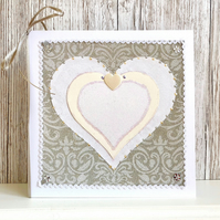 Wedding card - handmade wedding card - civil ceremony partnership - heart