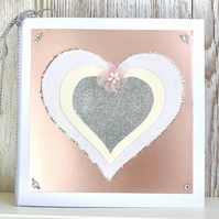 Birthday card - handmade heart birthday card pink flower