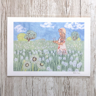 Special offer - 50% reduced for limited time Dandelion wishes giclee print