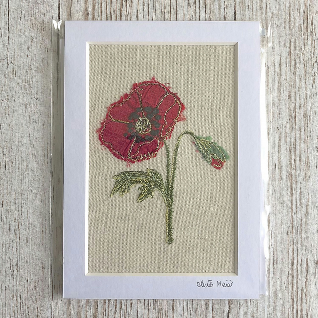 Poppy textile artwork - unframed embroidery flower floral poppies art