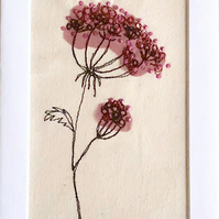 Cow parsley seed head textile artwork - unframed embroidery flower floral art