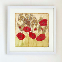 Harvest Mouse in the Poppy Cornfield - original textile artwork