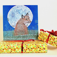 Fox and Moon birthday card - male husband mum brother friend