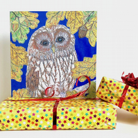 Owl birthday card - wise owl for general birthday, teachers, brownie leader etc