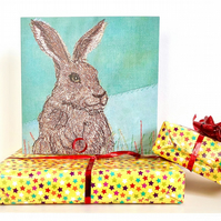 Hare birthday card - brown hare, bunny, rabbit mum husband male