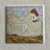 Chicken birthday card - chicken sitting on hay nest