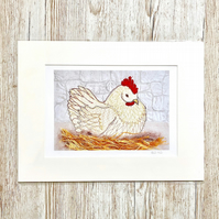 50% discount - Chicken - mounted chicken bird poultry nest art print